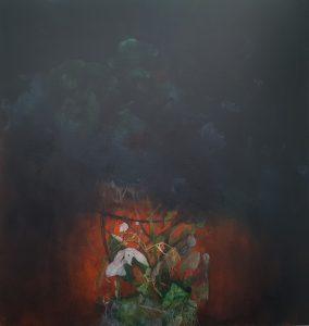 Fire & Soot - acrylic on canvas 90 x 95cm
